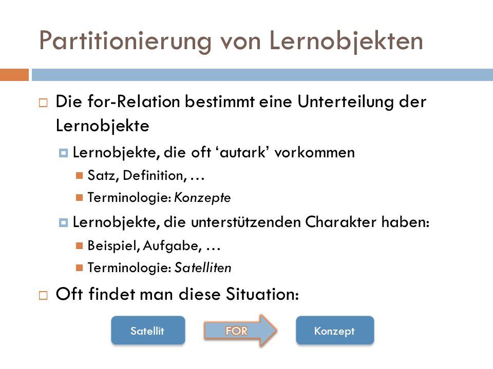 Partitionierung von Lernobjekten  Die for-Relation bestimmt eine Unterteilung der Lernobjekte  Lernobjekte, die oft 'autark' vorkommen Satz, Definit