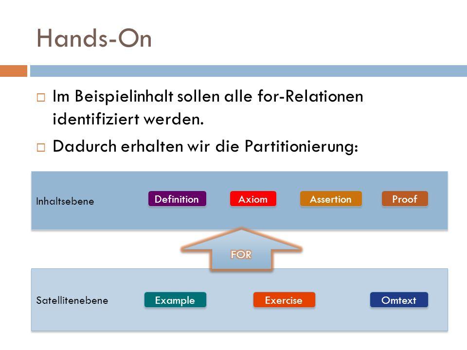 Hands-On  Im Beispielinhalt sollen alle for-Relationen identifiziert werden.  Dadurch erhalten wir die Partitionierung: Inhaltsebene Satellitenebene