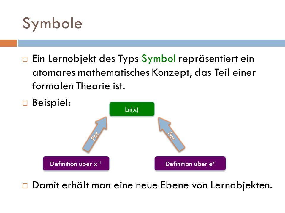 Symbole  Ein Lernobjekt des Typs Symbol repräsentiert ein atomares mathematisches Konzept, das Teil einer formalen Theorie ist.  Beispiel:  Damit e