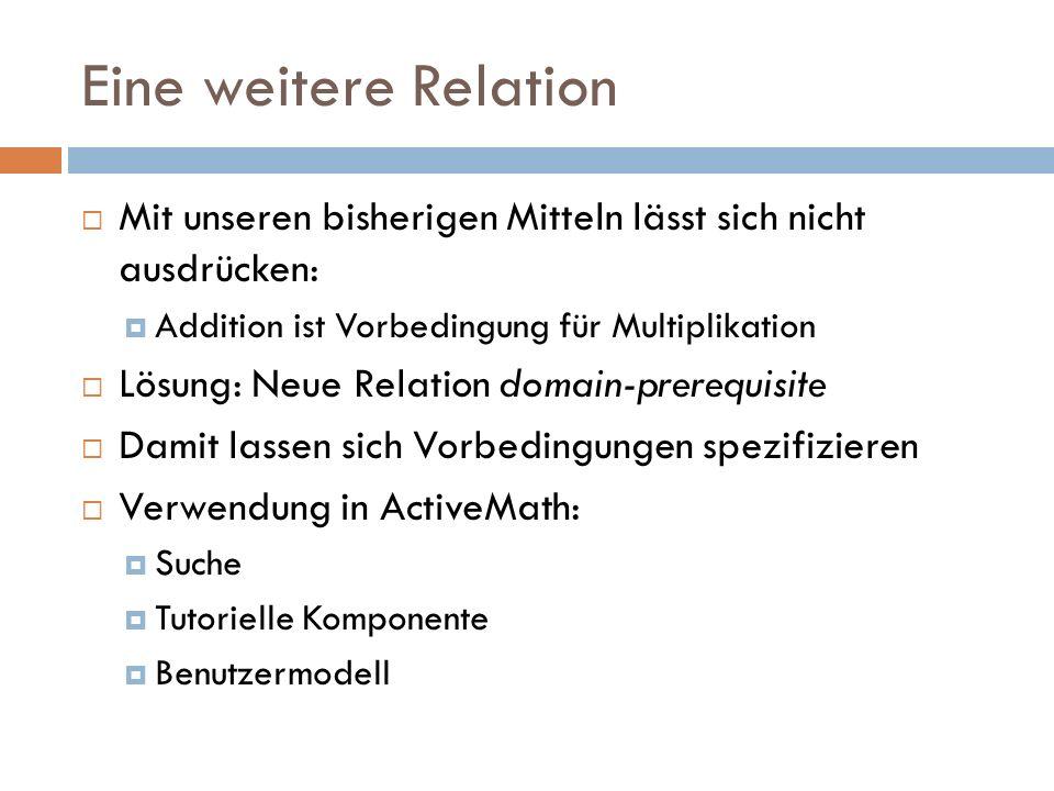 Eine weitere Relation  Mit unseren bisherigen Mitteln lässt sich nicht ausdrücken:  Addition ist Vorbedingung für Multiplikation  Lösung: Neue Rela
