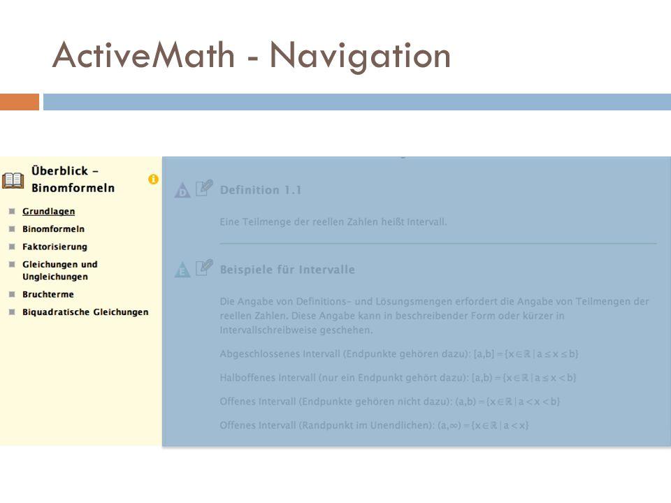 ActiveMath - Navigation