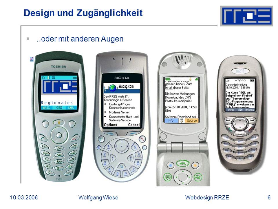 Webdesign RRZE10.03.2006Wolfgang Wiese17 Bilanz  Sonstiges  BIENE-Award  DMMA-Award, Sonderpreis Barrierefreiheit  Wenig Wartungsbedarf für Skripten und Designs; Bisher keine besonderen Zusatzkosten aufgetreten.