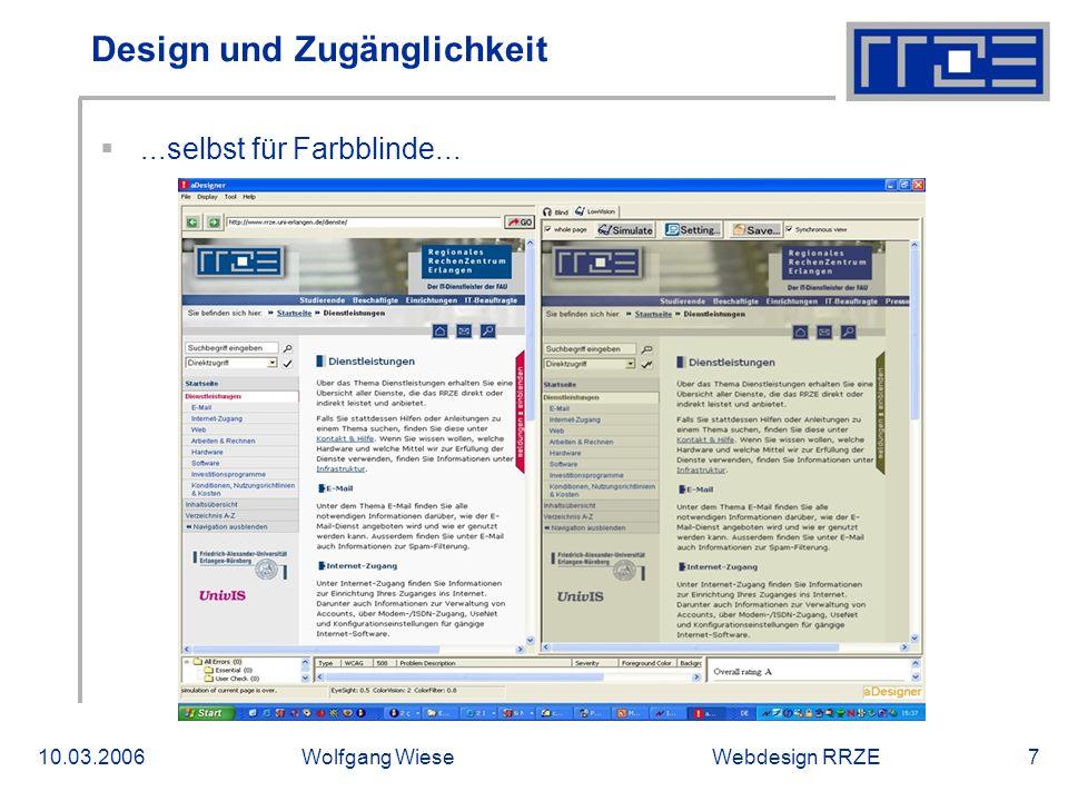 Webdesign RRZE10.03.2006Wolfgang Wiese7 Design und Zugänglichkeit ...selbst für Farbblinde...
