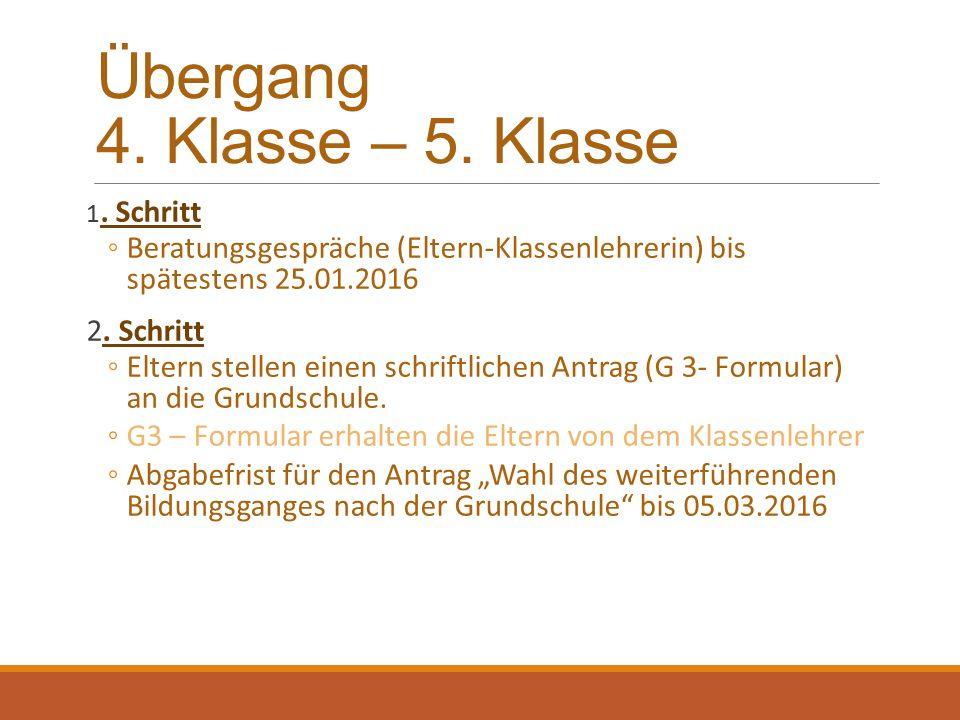 Übergang 4. Klasse – 5. Klasse 1.