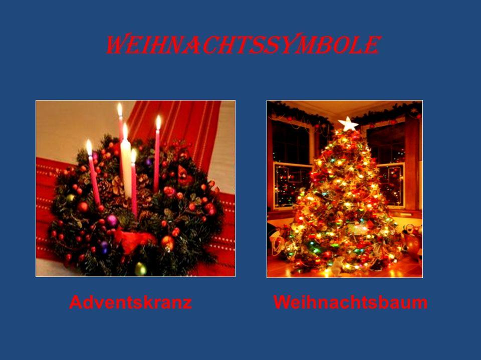Weihnachtssymbole AdventskranzWeihnachtsbaum