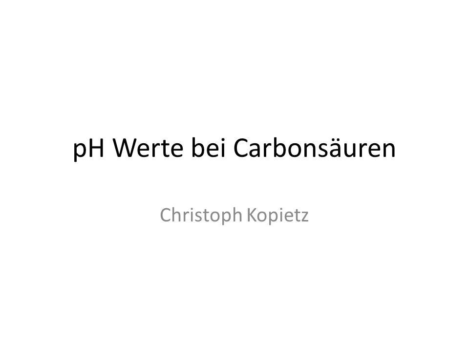pH Werte bei Carbonsäuren Christoph Kopietz