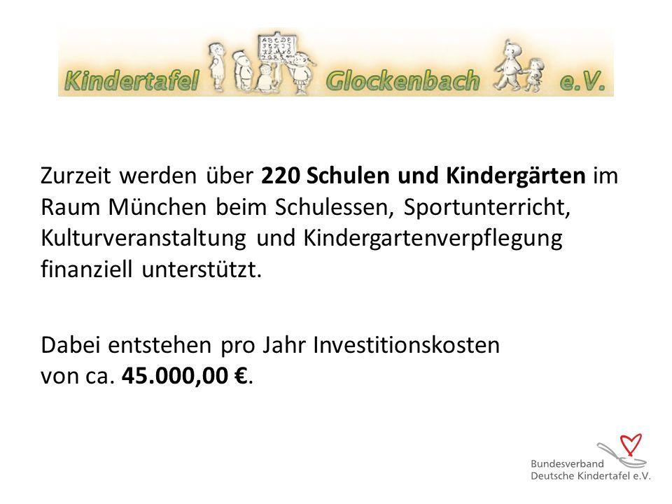 Zurzeit werden über 220 Schulen und Kindergärten im Raum München beim Schulessen, Sportunterricht, Kulturveranstaltung und Kindergartenverpflegung fin