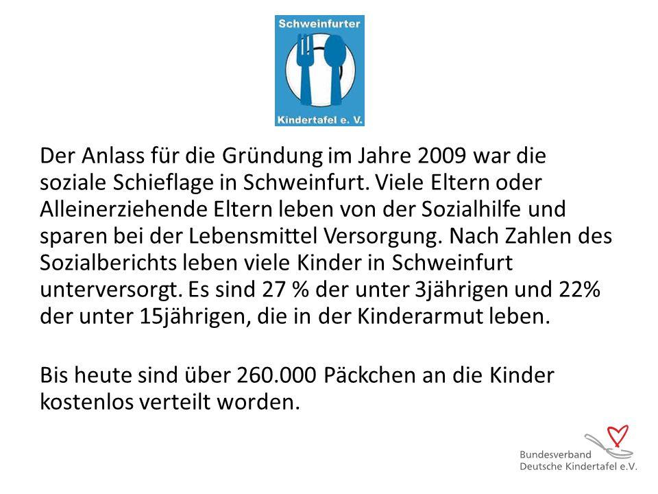 Der Anlass für die Gründung im Jahre 2009 war die soziale Schieflage in Schweinfurt. Viele Eltern oder Alleinerziehende Eltern leben von der Sozialhil