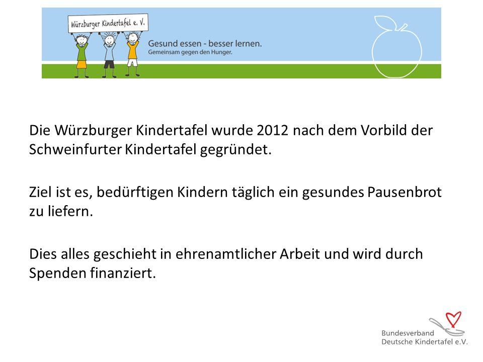 Die Würzburger Kindertafel wurde 2012 nach dem Vorbild der Schweinfurter Kindertafel gegründet. Ziel ist es, bedürftigen Kindern täglich ein gesundes