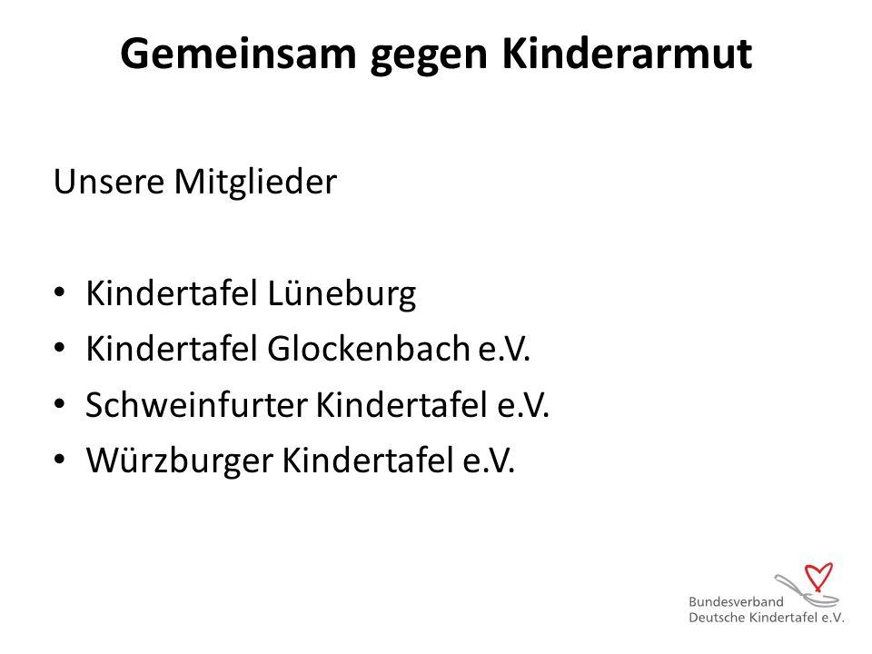Gemeinsam gegen Kinderarmut Unsere Mitglieder Kindertafel Lüneburg Kindertafel Glockenbach e.V. Schweinfurter Kindertafel e.V. Würzburger Kindertafel