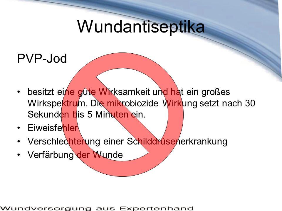 Wundantiseptika PVP-Jod besitzt eine gute Wirksamkeit und hat ein großes Wirkspektrum.