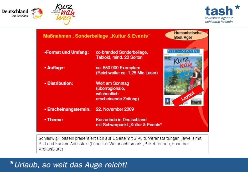 Schleswig-Holstein präsentiert sich auf 1 Seite mit 3 Kulturveranstaltungen, jeweils mit Bild und kurzem Anrisstext (Lübecker Weihnachtsmarkt, Biikebrennen, Husumer Krokusblüte)