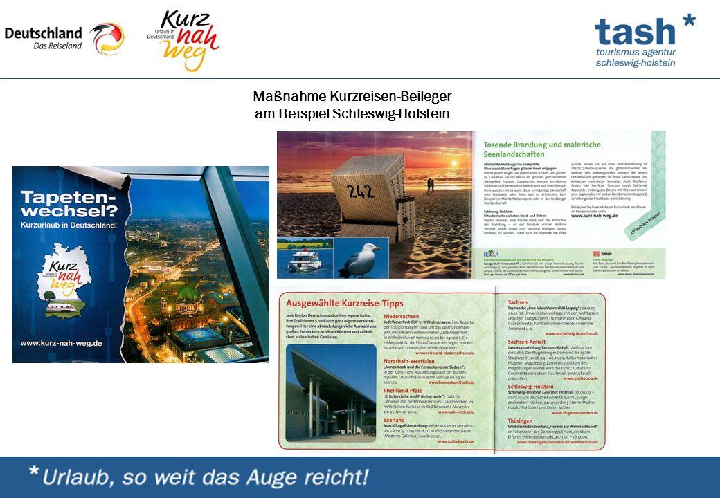 Maßnahme Kurzreisen-Beileger am Beispiel Schleswig-Holstein