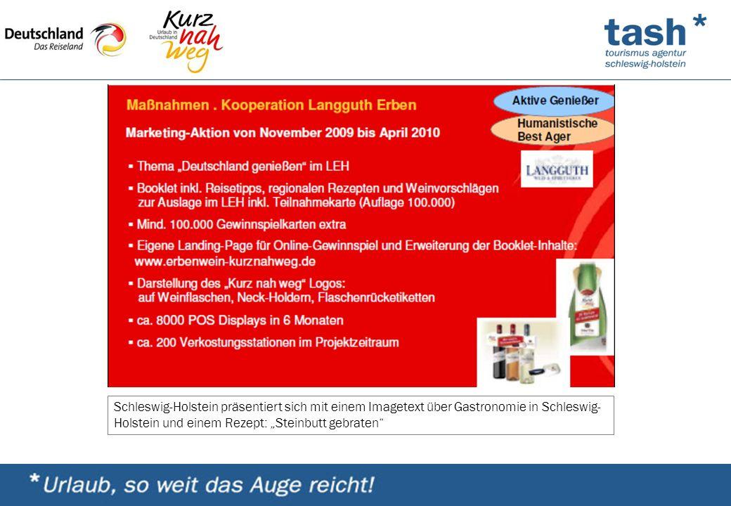 """Schleswig-Holstein präsentiert sich mit einem Imagetext über Gastronomie in Schleswig- Holstein und einem Rezept: """"Steinbutt gebraten"""