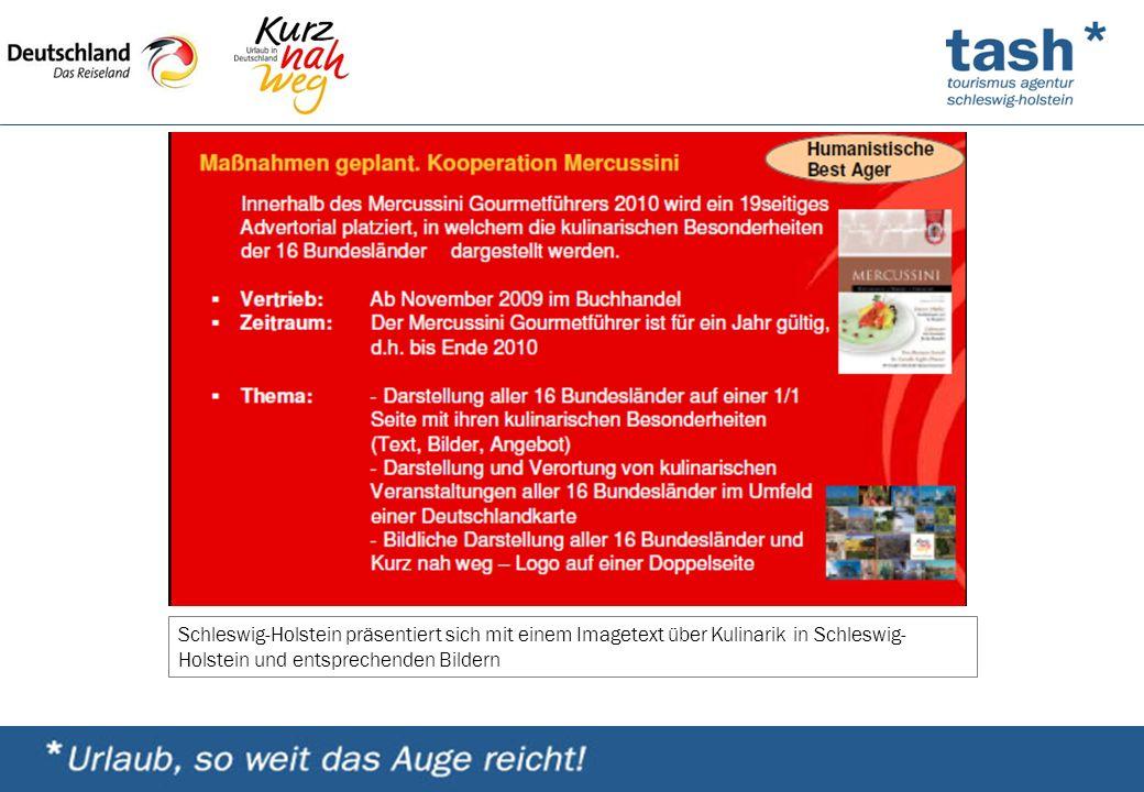 Schleswig-Holstein präsentiert sich mit einem Imagetext über Kulinarik in Schleswig- Holstein und entsprechenden Bildern