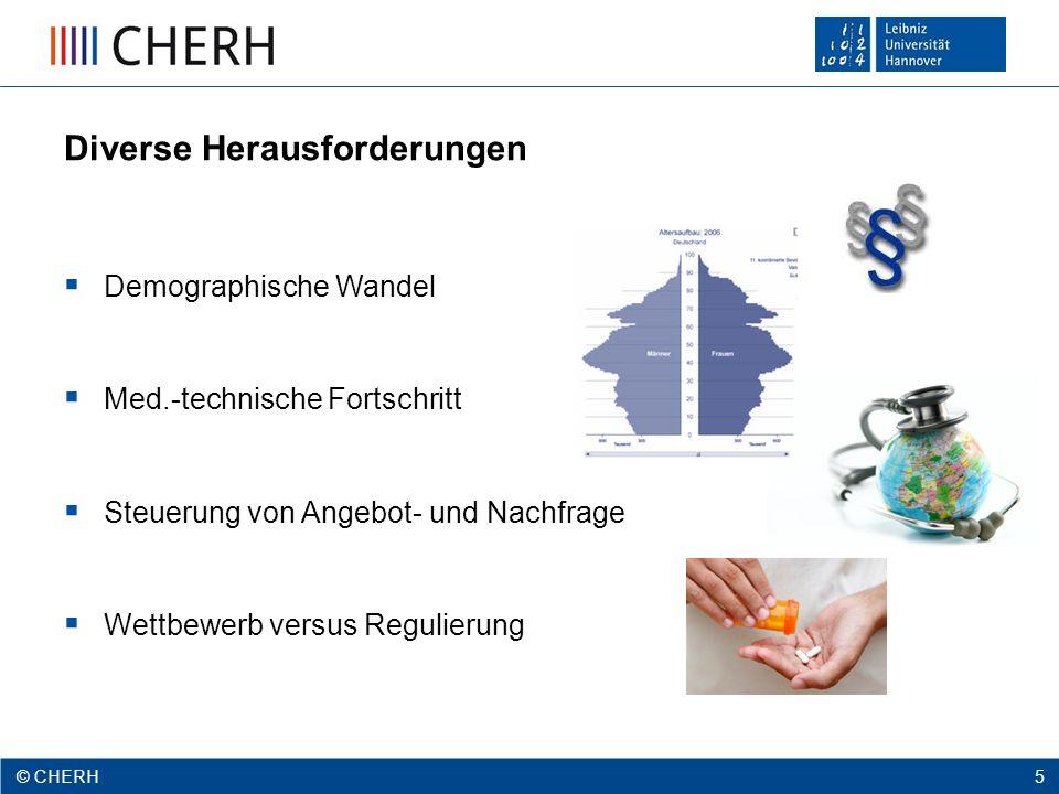© CHERH 2012 5 © CHERH 5 Diverse Herausforderungen  Demographische Wandel  Med.-technische Fortschritt  Steuerung von Angebot- und Nachfrage  Wettbewerb versus Regulierung