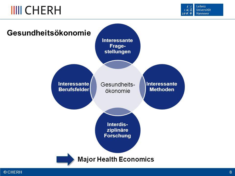 © CHERH 2012 8 © CHERH 8 Interessante Frage- stellungen Interessante Methoden Interdis- ziplinäre Forschung Interessante Berufsfelder Gesundheits- ökonomie Gesundheitsökonomie Major Health Economics