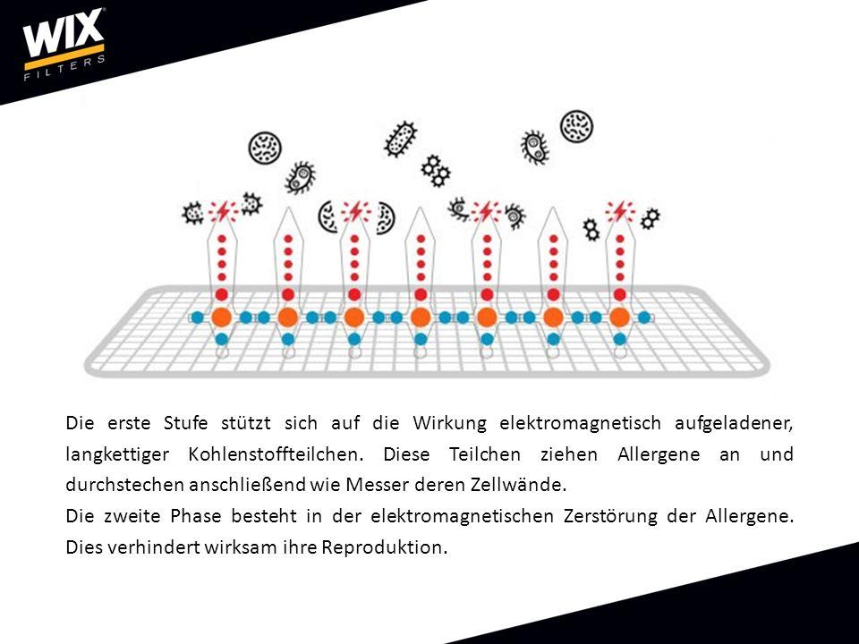 Die erste Stufe stützt sich auf die Wirkung elektromagnetisch aufgeladener, langkettiger Kohlenstoffteilchen.