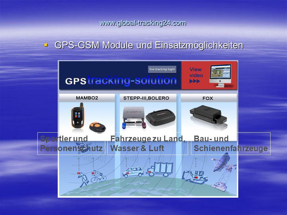 www.global-tracking24.com  GPS-GSM Module und Einsatzmöglichkeiten Sportler und Personenschutz Fahrzeuge zu Land, Wasser & Luft Bau- und Schienenfahrzeuge