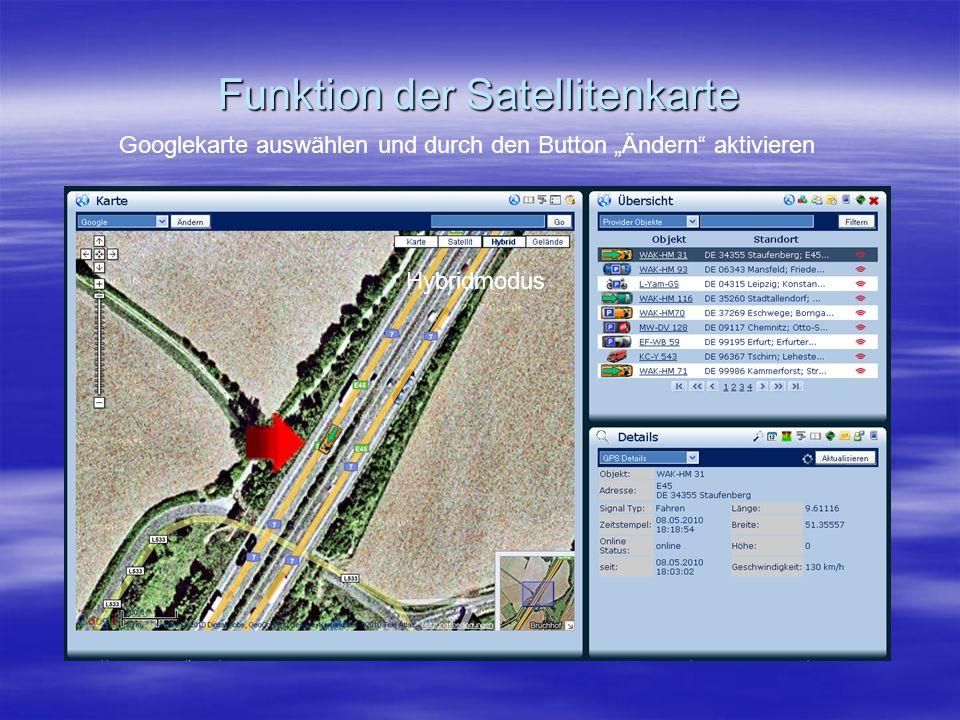 """Funktion der Satellitenkarte Googlekarte auswählen und durch den Button """"Ändern aktivieren Hybridmodus"""
