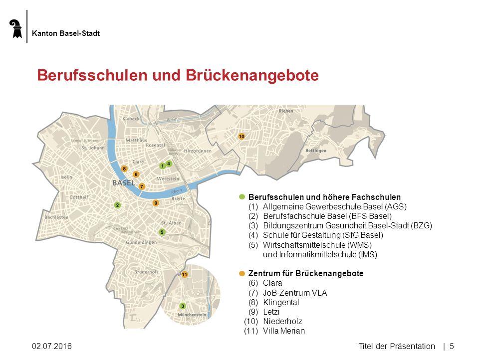 02.07.2016Titel der Präsentation| 5 Berufsschulen und Brückenangebote Berufsschulen und höhere Fachschulen (1)Allgemeine Gewerbeschule Basel (AGS) (2)Berufsfachschule Basel (BFS Basel) (3)Bildungszentrum Gesundheit Basel-Stadt (BZG) (4)Schule für Gestaltung (SfG Basel) (5)Wirtschaftsmittelschule (WMS) und Informatikmittelschule (IMS) Zentrum für Brückenangebote (6)Clara (7)JoB-Zentrum VLA (8)Klingental (9)Letzi (10)Niederholz (11)Villa Merian Kanton Basel-Stadt