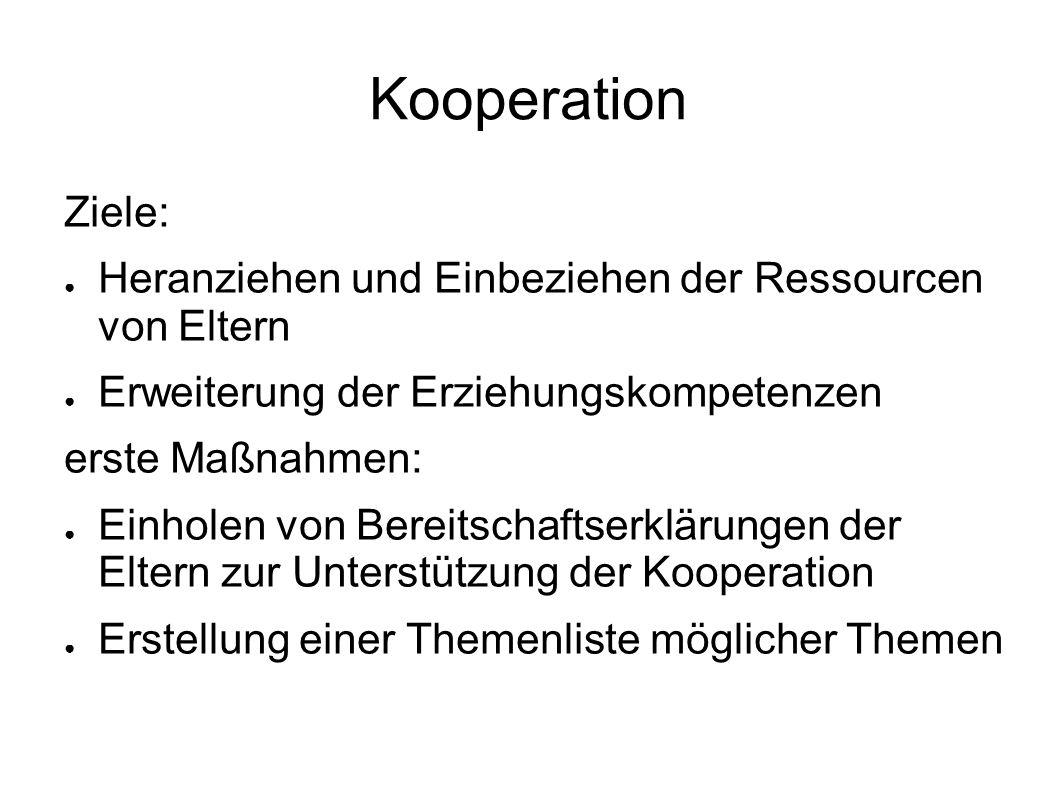 Kooperation Ziele: ● Heranziehen und Einbeziehen der Ressourcen von Eltern ● Erweiterung der Erziehungskompetenzen erste Maßnahmen: ● Einholen von Ber