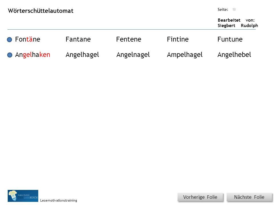 Übungsart: Seite: Bearbeitet von: Siegbert Rudolph Lesemotivationstraining Nächste Folie Vorherige Folie Wörterschüttelautomat 10 FontäneFantaneFenten