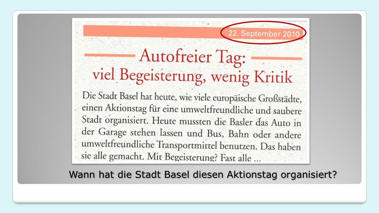 Wann hat die Stadt Basel diesen Aktionstag organisiert