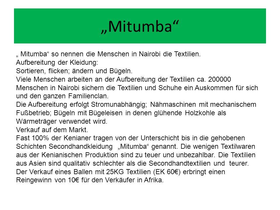 """""""Mitumba """" Mitumba so nennen die Menschen in Nairobi die Textilien."""