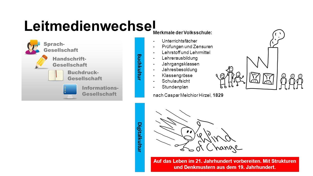 Leitmedienwechsel Digitalkultur Buchkultur Merkmale der Volksschule: -Unterrichtsfächer -Prüfungen und Zensuren -Lehrstoff und Lehrmittel -Lehrerausbi