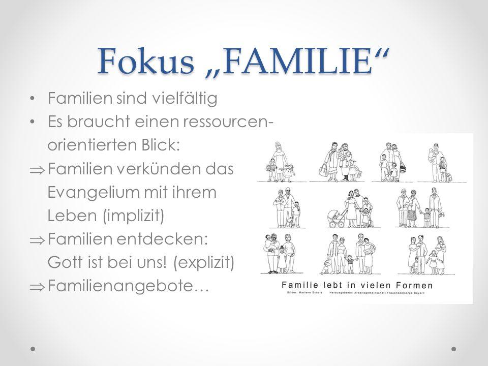 """Fokus """"FAMILIE Familien sind vielfältig Es braucht einen ressourcen- orientierten Blick:  Familien verkünden das Evangelium mit ihrem Leben (implizit)  Familien entdecken: Gott ist bei uns."""