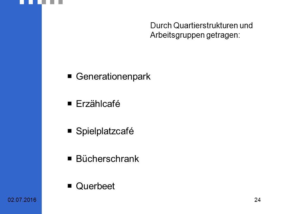 Durch Quartierstrukturen und Arbeitsgruppen getragen:  Generationenpark  Erzählcafé  Spielplatzcafé  Bücherschrank  Querbeet 02.07.201624