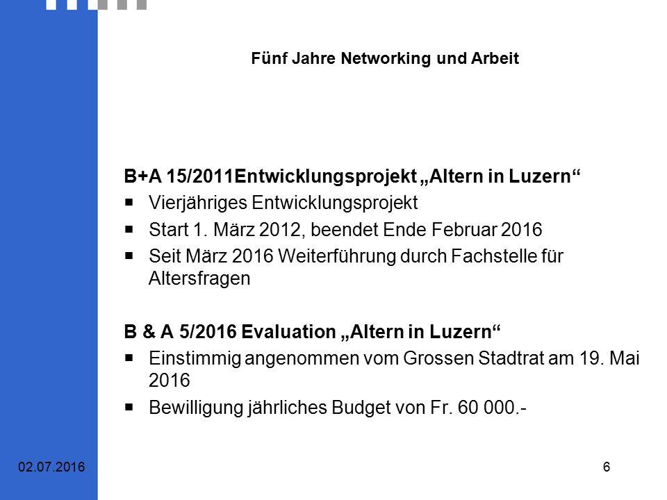 """Fünf Jahre Networking und Arbeit B+A 15/2011Entwicklungsprojekt """"Altern in Luzern  Vierjähriges Entwicklungsprojekt  Start 1."""