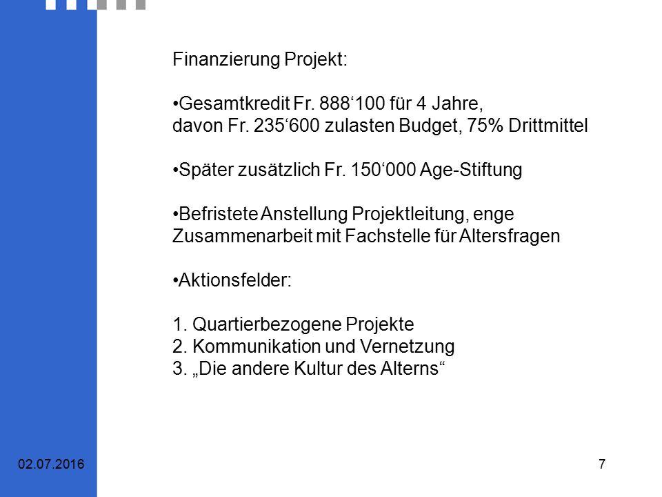 7 Finanzierung Projekt: Gesamtkredit Fr. 888'100 für 4 Jahre, davon Fr.