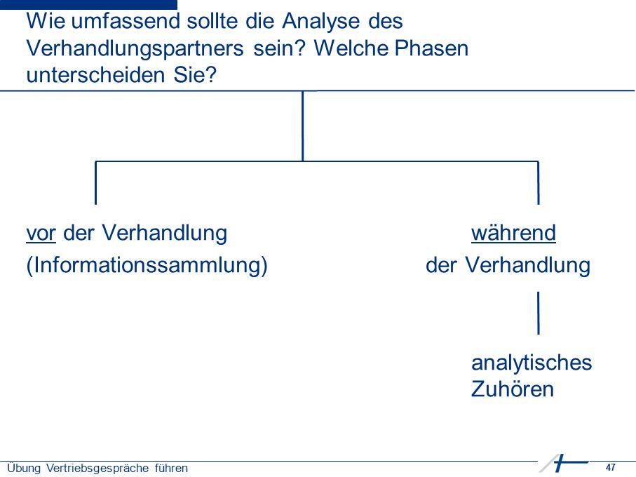 47 Übung Vertriebsgespräche führen Wie umfassend sollte die Analyse des Verhandlungspartners sein? Welche Phasen unterscheiden Sie? vor der Verhandlun