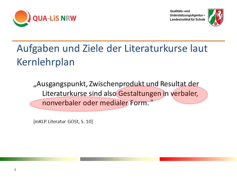 """Aufgaben und Ziele der Literaturkurse laut Kernlehrplan """"Ausgangspunkt, Zwischenprodukt und Resultat der Literaturkurse sind also Gestaltungen in verb"""