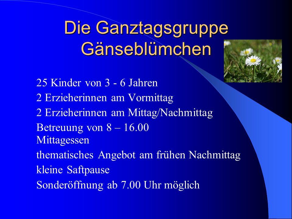 Die Ganztagsgruppe Gänseblümchen 25 Kinder von 3 - 6 Jahren 2 Erzieherinnen am Vormittag 2 Erzieherinnen am Mittag/Nachmittag Betreuung von 8 – 16.00