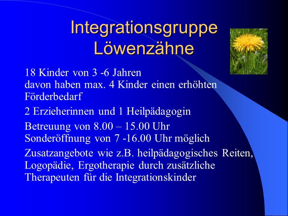 Integrationsgruppe Löwenzähne 18 Kinder von 3 -6 Jahren davon haben max. 4 Kinder einen erhöhten Förderbedarf 2 Erzieherinnen und 1 Heilpädagogin Betr