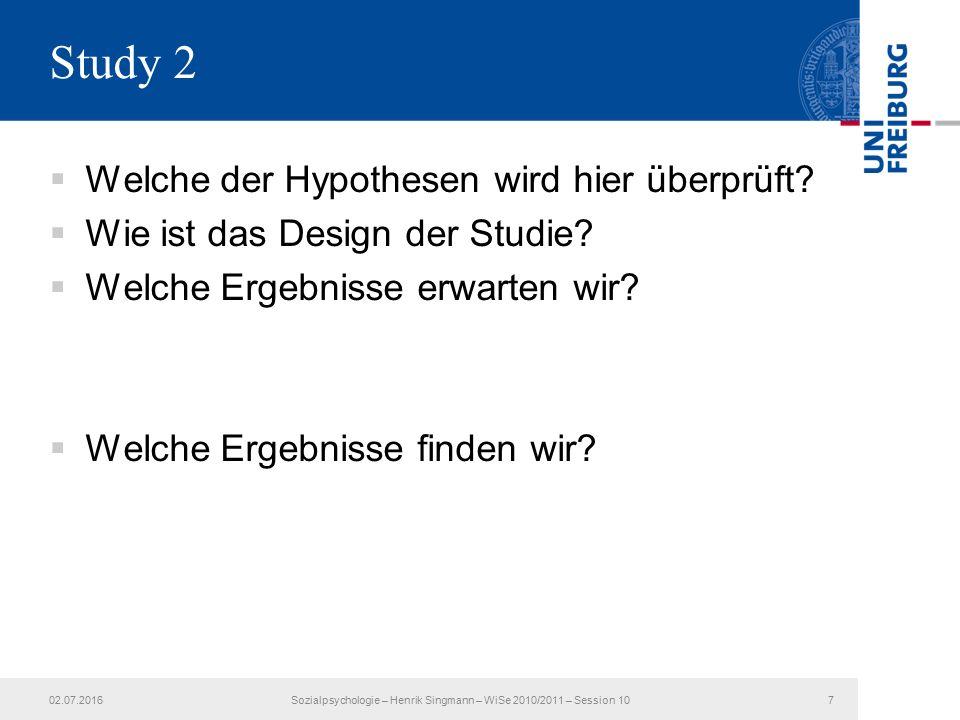  Welche der Hypothesen wird hier überprüft.  Wie ist das Design der Studie.