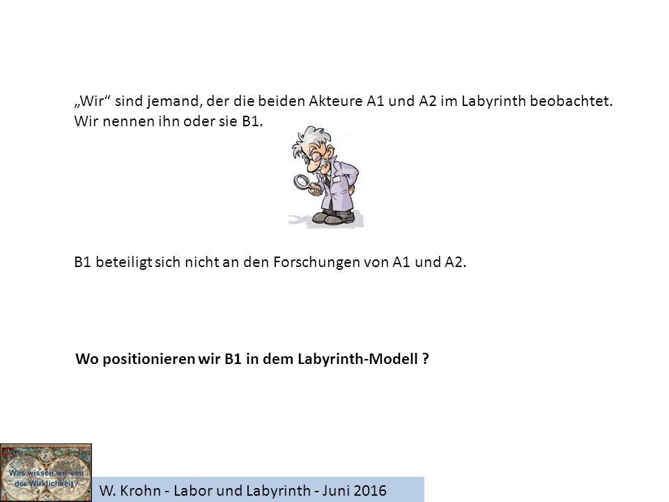 """W. Krohn - Labor und Labyrinth - Juni 2016 """"Wir"""" sind jemand, der die beiden Akteure A1 und A2 im Labyrinth beobachtet. Wir nennen ihn oder sie B1. B1"""