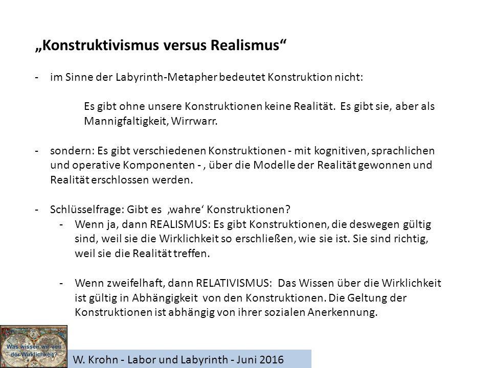 """W. Krohn - Labor und Labyrinth - Juni 2016 """"Konstruktivismus versus Realismus"""" -im Sinne der Labyrinth-Metapher bedeutet Konstruktion nicht: Es gibt o"""