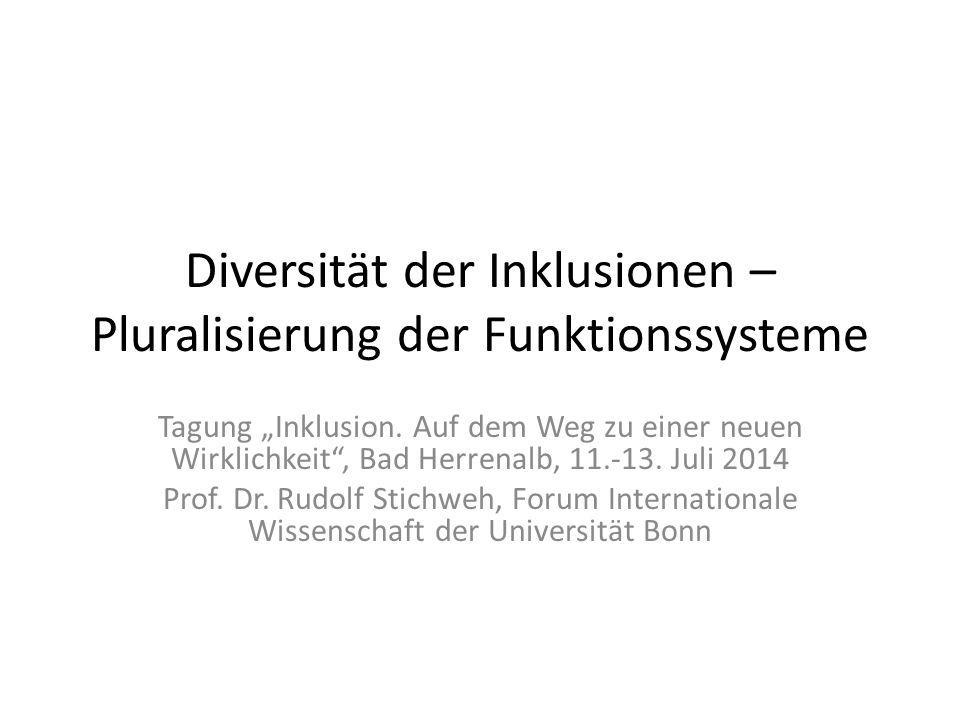 """Diversität der Inklusionen – Pluralisierung der Funktionssysteme Tagung """"Inklusion."""