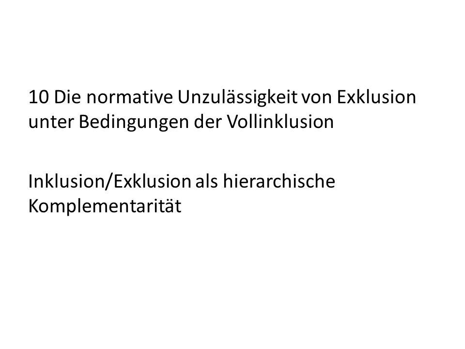 10 Die normative Unzulässigkeit von Exklusion unter Bedingungen der Vollinklusion Inklusion/Exklusion als hierarchische Komplementarität
