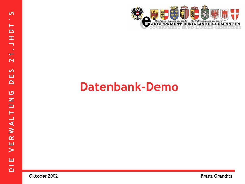 D I E V E R W A L T U N G D E S 2 1. J H D T ´ S Oktober 2002Franz Grandits Datenbank-Demo
