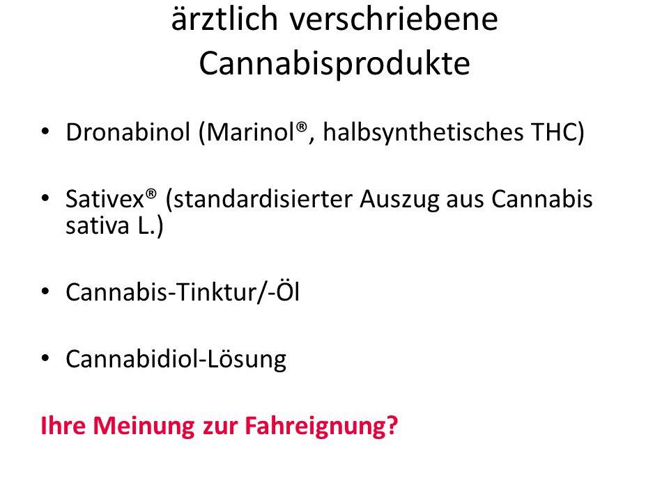 ärztlich verschriebene Cannabisprodukte Dronabinol (Marinol®, halbsynthetisches THC) Sativex® (standardisierter Auszug aus Cannabis sativa L.) Cannabis-Tinktur/-Öl Cannabidiol-Lösung Ihre Meinung zur Fahreignung