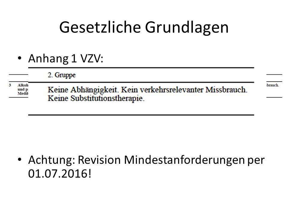 Gesetzliche Grundlagen Anhang 1 VZV: Achtung: Revision Mindestanforderungen per 01.07.2016!