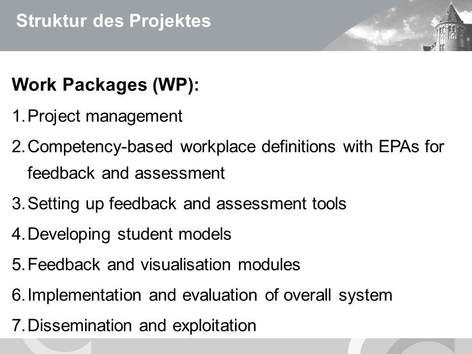 U N I V E R S I T Ä T S M E D I Z I N B E R L I N Struktur des Projektes Work Packages (WP): 1.Project management 2.Competency-based workplace definit