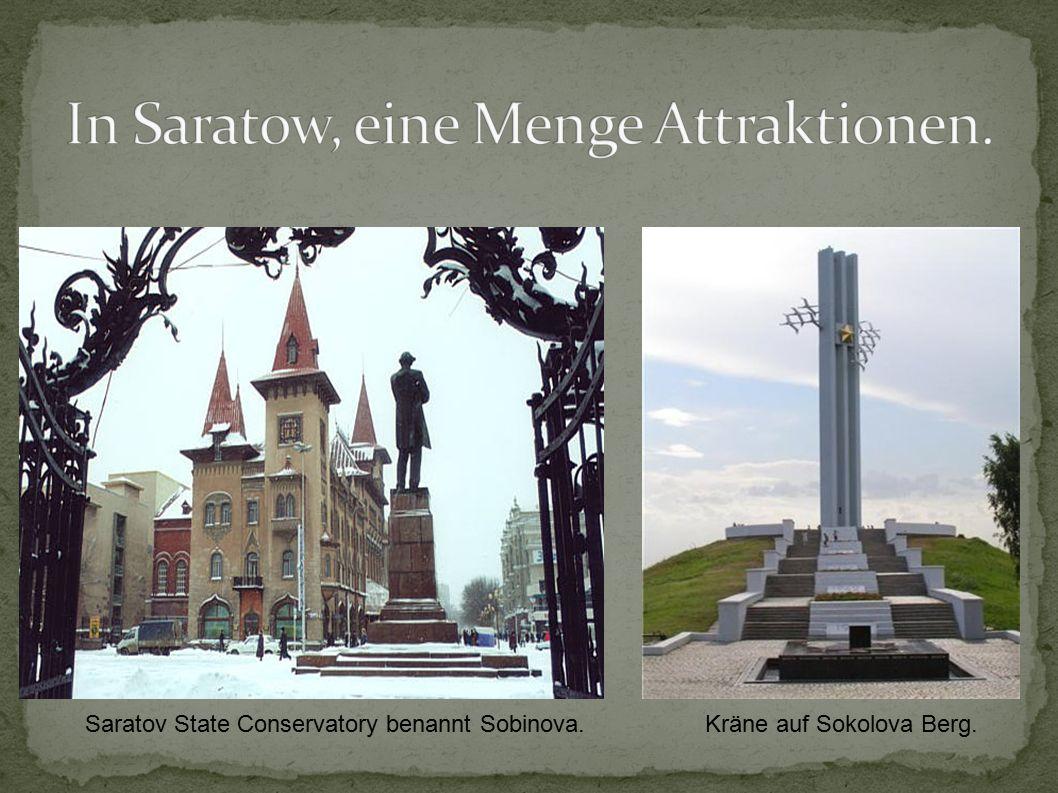 Saratov State Conservatory benannt Sobinova.Kräne auf Sokolova Berg.