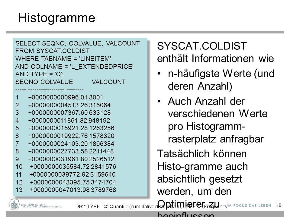 Histogramme SYSCAT.COLDIST enthält Informationen wie n-häufigste Werte (und deren Anzahl) Auch Anzahl der verschiedenen Werte pro Histogramm- rasterplatz anfragbar Tatsächlich können Histo-gramme auch absichtlich gesetzt werden, um den Optimierer zu beeinflussen 10 SELECT SEQNO, COLVALUE, VALCOUNT FROM SYSCAT.COLDIST WHERE TABNAME = LINEITEM AND COLNAME = L_EXTENDEDPRICE AND TYPE = Q ; SEQNO COLVALUE VALCOUNT ----- ----------------- -------- 1 +0000000000996.01 3001 2 +0000000004513.26 315064 3 +0000000007367.60 633128 4 +0000000011861.82 948192 5 +0000000015921.28 1263256 6 +0000000019922.76 1578320 7 +0000000024103.20 1896384 8 +0000000027733.58 2211448 9 +0000000031961.80 2526512 10 +0000000035584.72 2841576 11 +0000000039772.92 3159640 12 +0000000043395.75 3474704 13 +0000000047013.98 3789768 SELECT SEQNO, COLVALUE, VALCOUNT FROM SYSCAT.COLDIST WHERE TABNAME = LINEITEM AND COLNAME = L_EXTENDEDPRICE AND TYPE = Q ; SEQNO COLVALUE VALCOUNT ----- ----------------- -------- 1 +0000000000996.01 3001 2 +0000000004513.26 315064 3 +0000000007367.60 633128 4 +0000000011861.82 948192 5 +0000000015921.28 1263256 6 +0000000019922.76 1578320 7 +0000000024103.20 1896384 8 +0000000027733.58 2211448 9 +0000000031961.80 2526512 10 +0000000035584.72 2841576 11 +0000000039772.92 3159640 12 +0000000043395.75 3474704 13 +0000000047013.98 3789768 DB2: TYPE= Q Quantile (cumulative distribution), TYPE= F Frequency