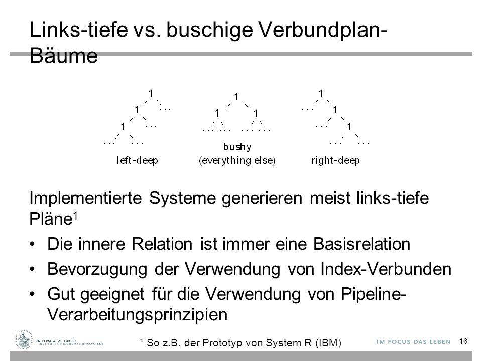 Links-tiefe vs. buschige Verbundplan- Bäume Implementierte Systeme generieren meist links-tiefe Pläne 1 Die innere Relation ist immer eine Basisrelati